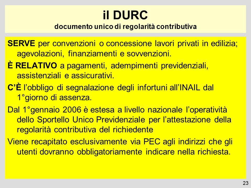 il DURC documento unico di regolarità contributiva