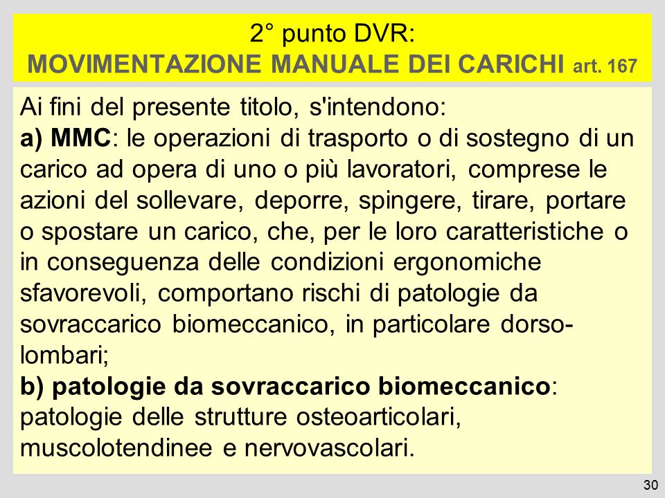 2° punto DVR: MOVIMENTAZIONE MANUALE DEI CARICHI art. 167