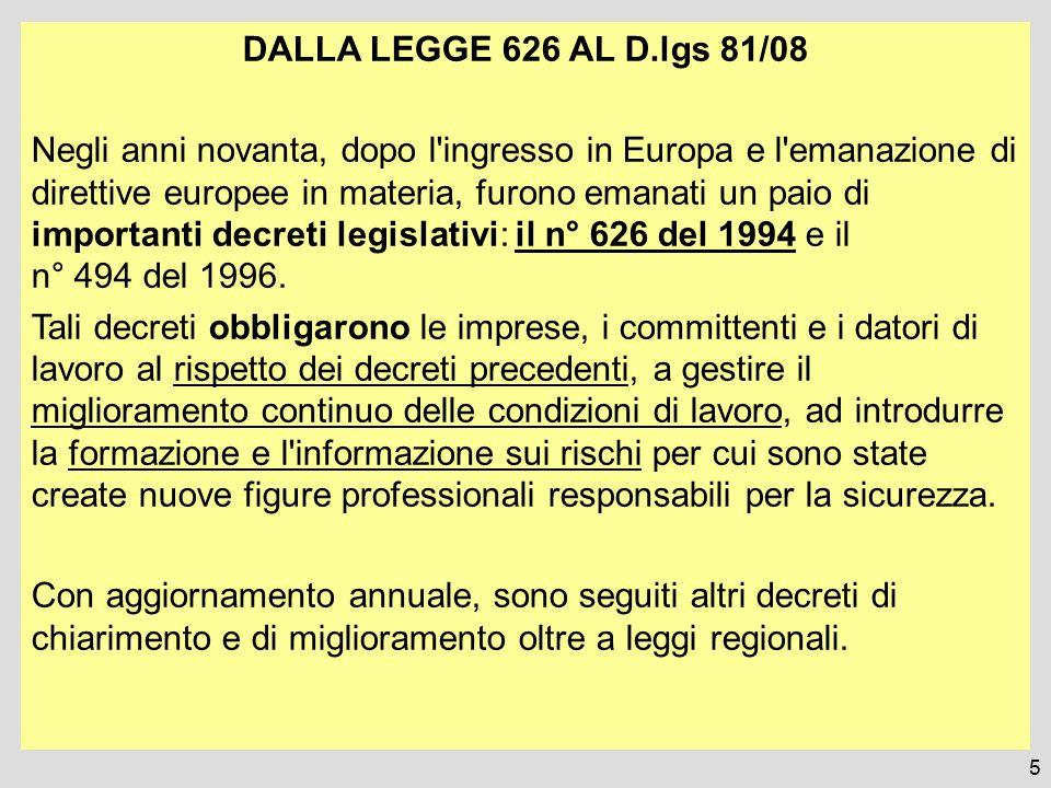 DALLA LEGGE 626 AL D.lgs 81/08