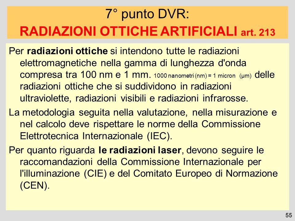 RADIAZIONI OTTICHE ARTIFICIALI art. 213
