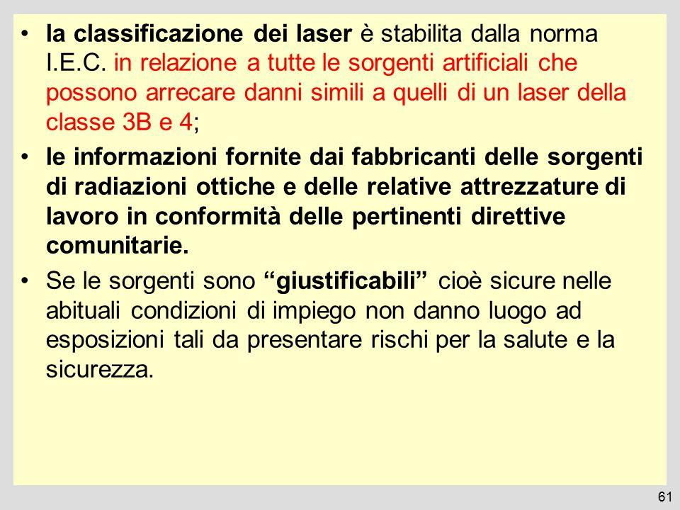 la classificazione dei laser è stabilita dalla norma I. E. C