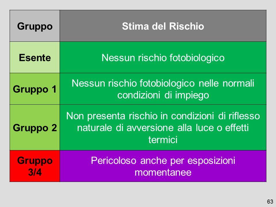 Gruppo Stima del Rischio Esente Gruppo 1 Gruppo 2 Gruppo 3/4