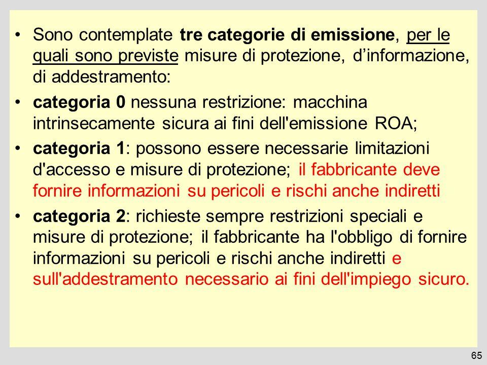 Sono contemplate tre categorie di emissione, per le quali sono previste misure di protezione, d'informazione, di addestramento: