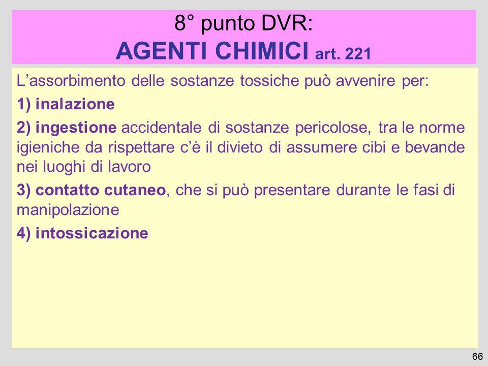 AGENTI CHIMICI art. 221 8° punto DVR:
