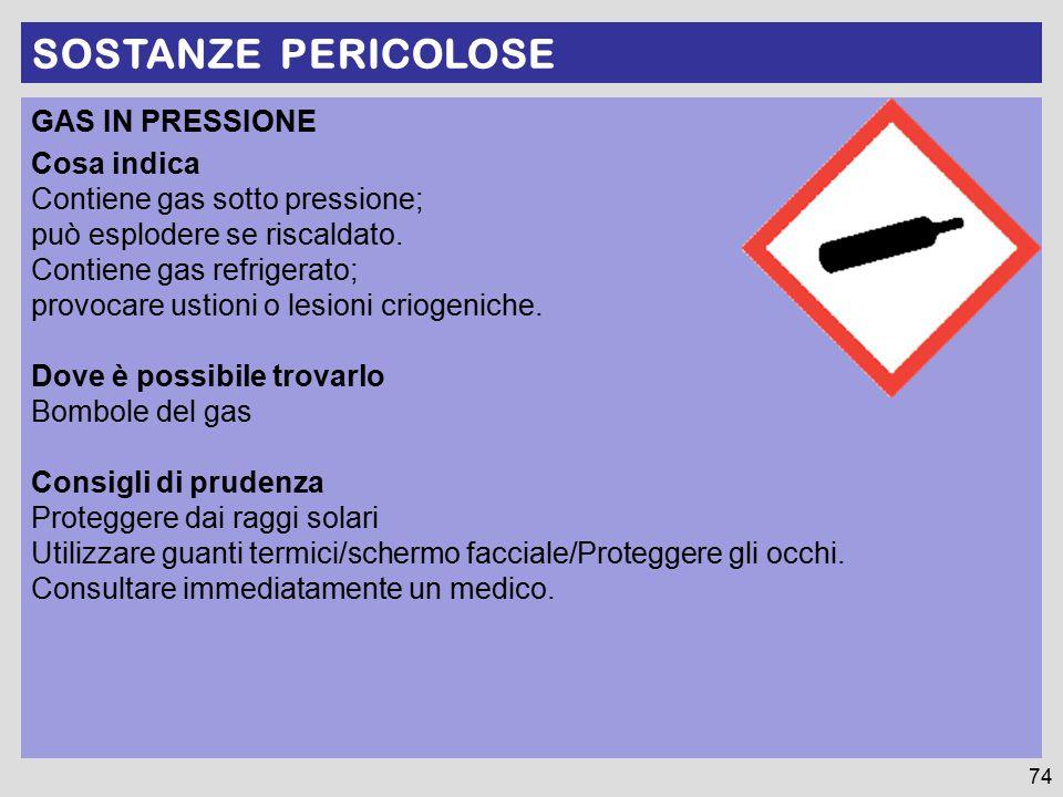 SOSTANZE PERICOLOSE GAS IN PRESSIONE