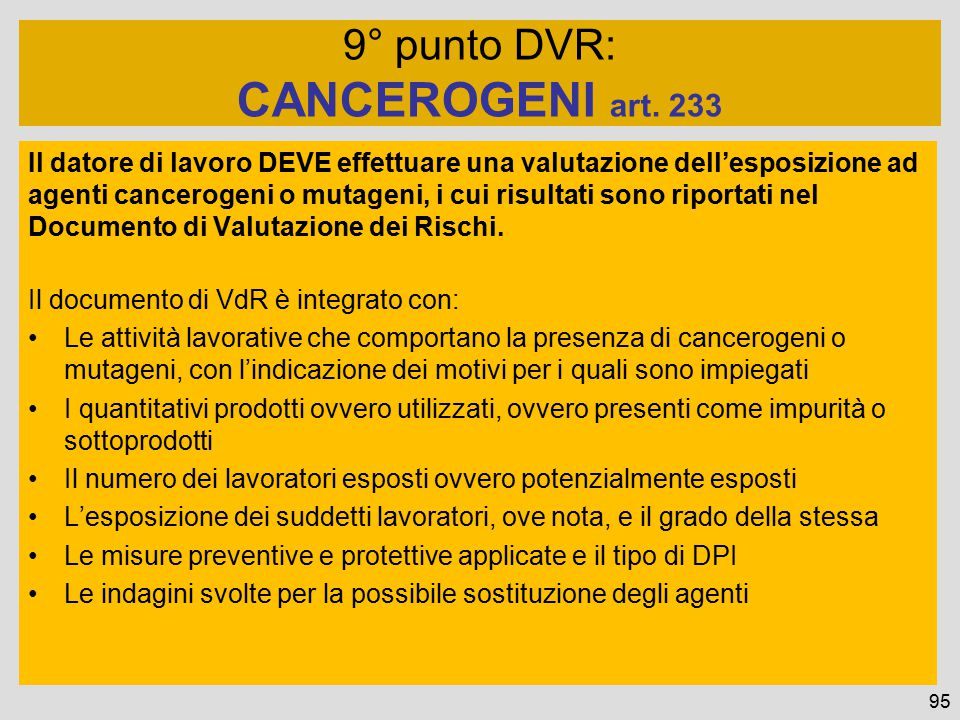 CANCEROGENI art. 233 9° punto DVR: