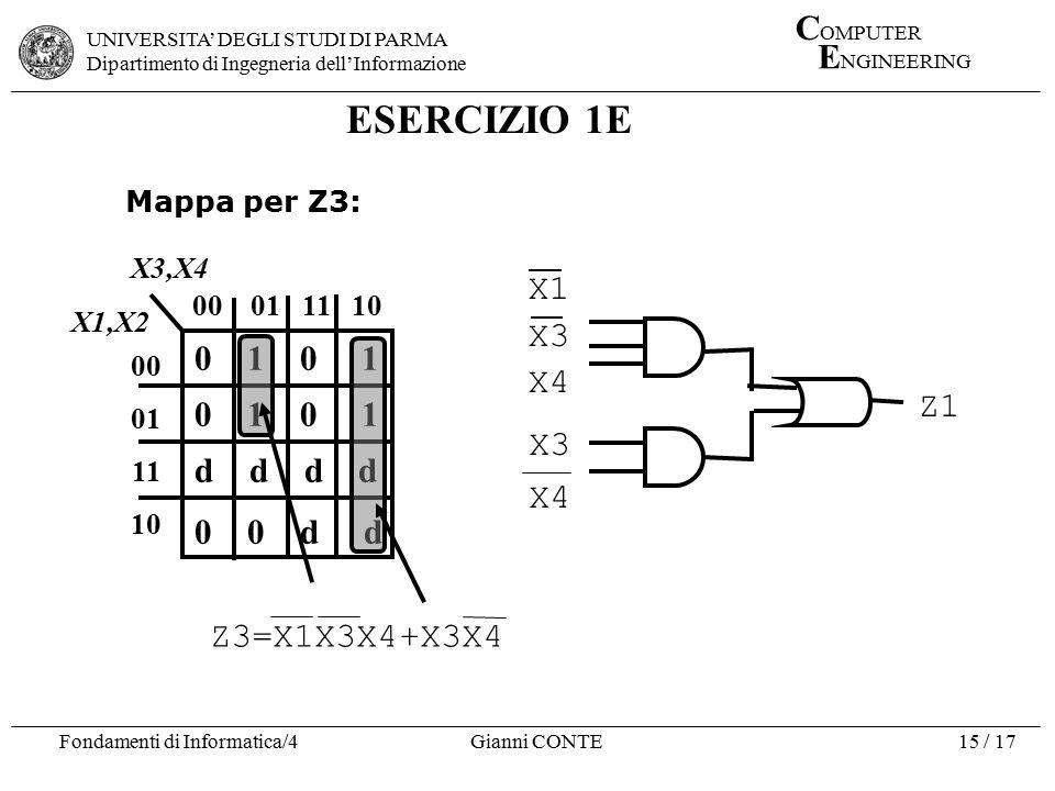 ESERCIZIO 1E X1 X3 X4 0 1 0 1 d d d d Z1 0 0 d d Z3=X1X3X4+X3X4