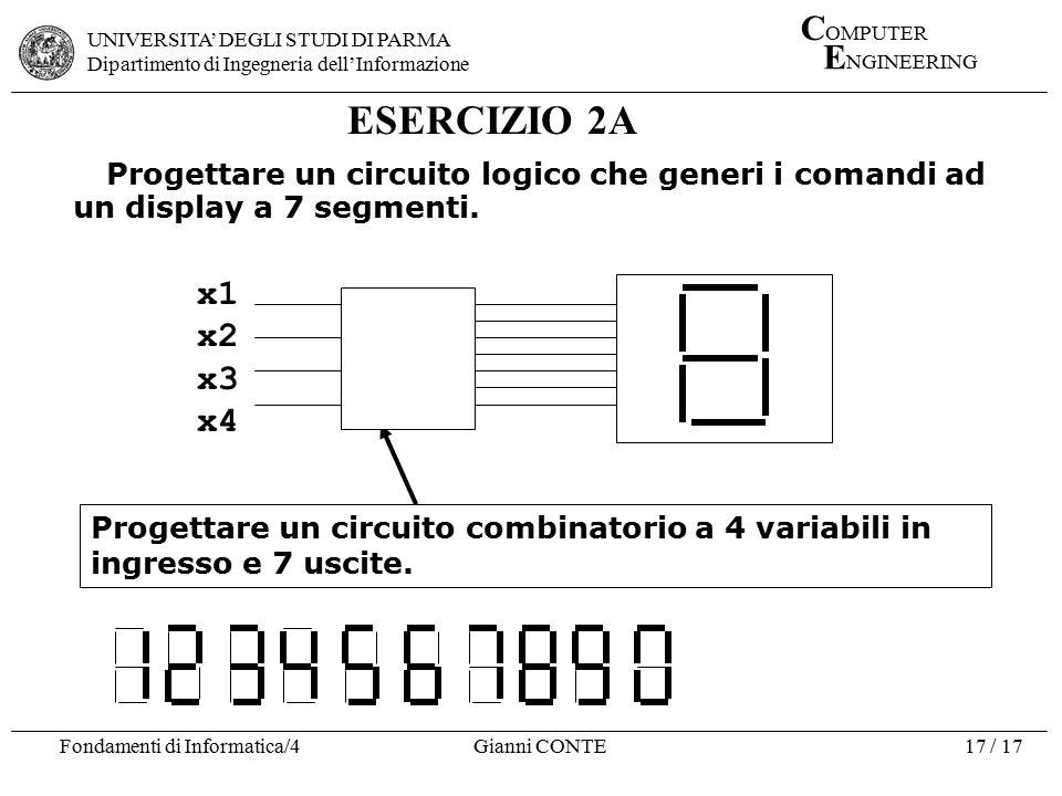 ESERCIZIO 2A Progettare un circuito logico che generi i comandi ad un display a 7 segmenti. x1. x2.