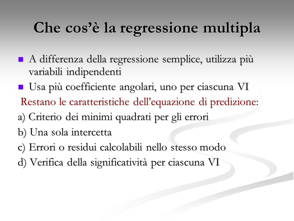 Che cos'è la regressione multipla