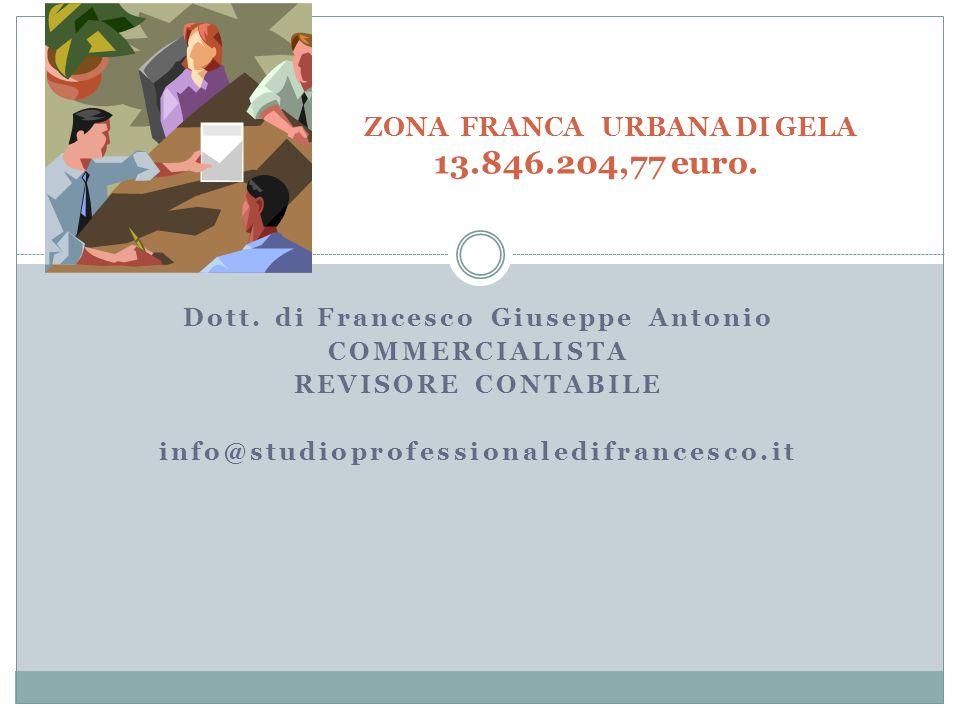 ZONA FRANCA URBANA DI GELA 13.846.204,77 euro.