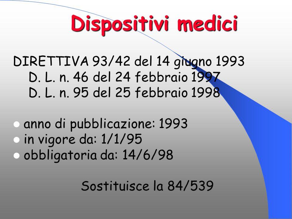Dispositivi medici DIRETTIVA 93/42 del 14 giugno 1993