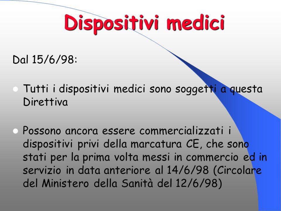 Dispositivi medici Dal 15/6/98: