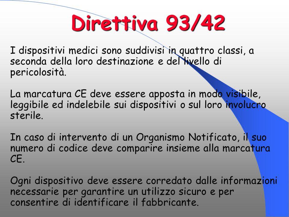 Direttiva 93/42 I dispositivi medici sono suddivisi in quattro classi, a seconda della loro destinazione e del livello di pericolosità.