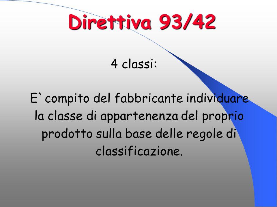 Direttiva 93/42 4 classi: