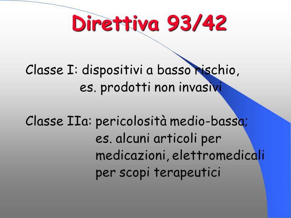 Direttiva 93/42 Classe I: dispositivi a basso rischio,