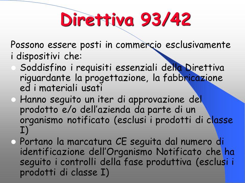 Direttiva 93/42 Possono essere posti in commercio esclusivamente
