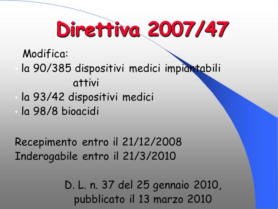 Direttiva 2007/47 Modifica: la 90/385 dispositivi medici impiantabili