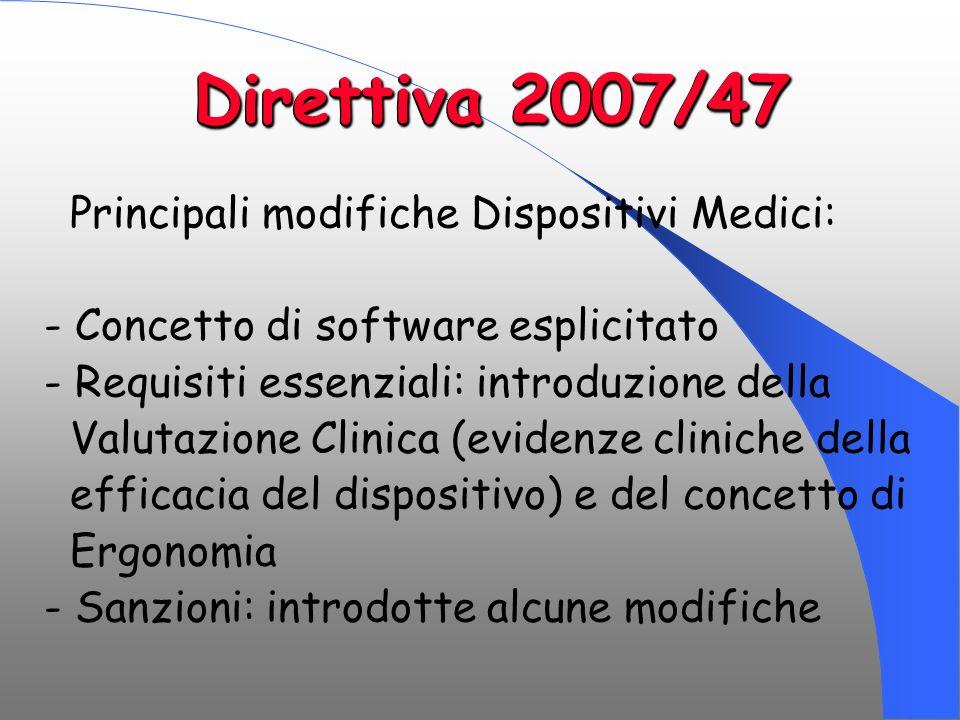 Direttiva 2007/47 Principali modifiche Dispositivi Medici: