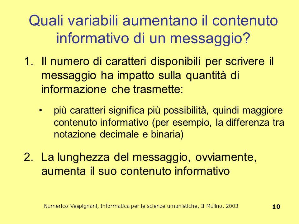 Quali variabili aumentano il contenuto informativo di un messaggio