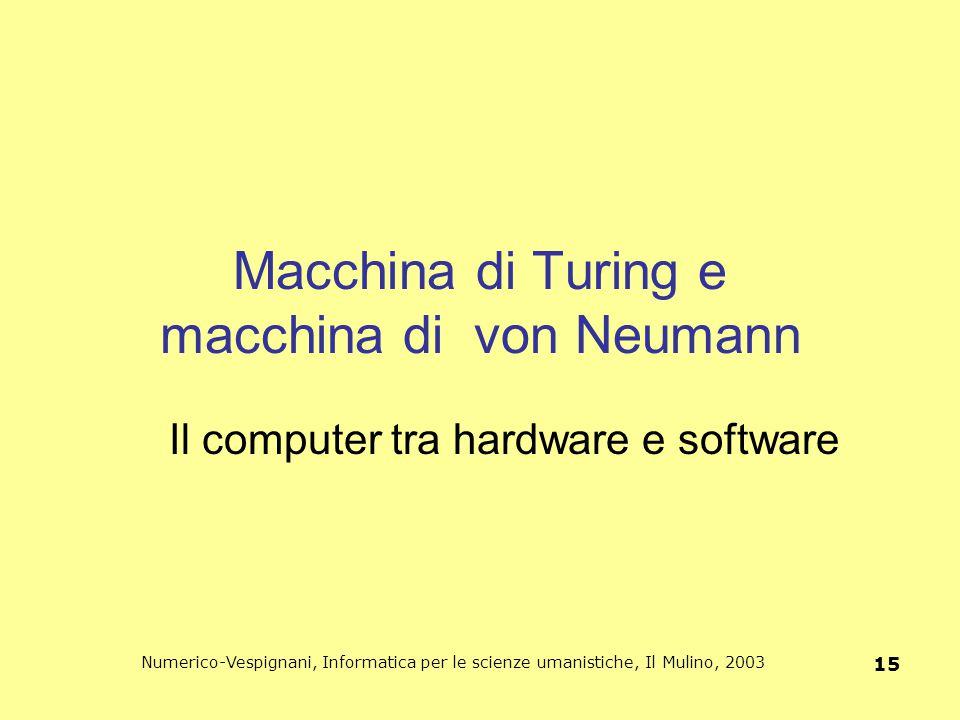 Macchina di Turing e macchina di von Neumann