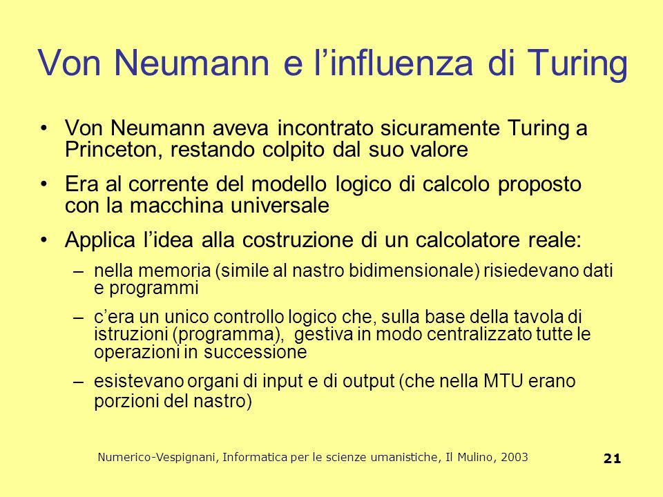 Von Neumann e l'influenza di Turing