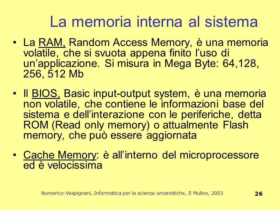 La memoria interna al sistema
