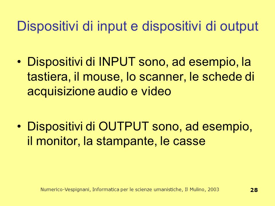 Dispositivi di input e dispositivi di output