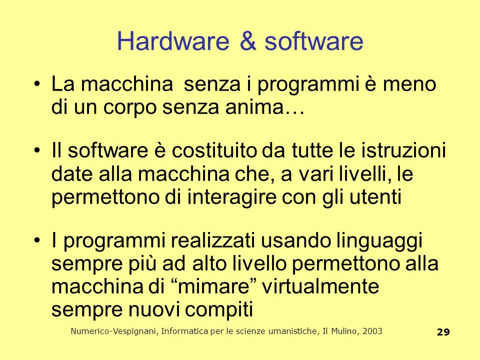 Hardware & software La macchina senza i programmi è meno di un corpo senza anima…