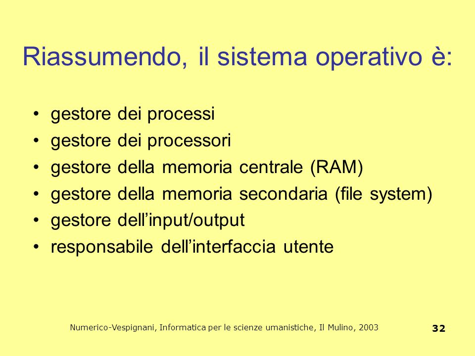 Riassumendo, il sistema operativo è: