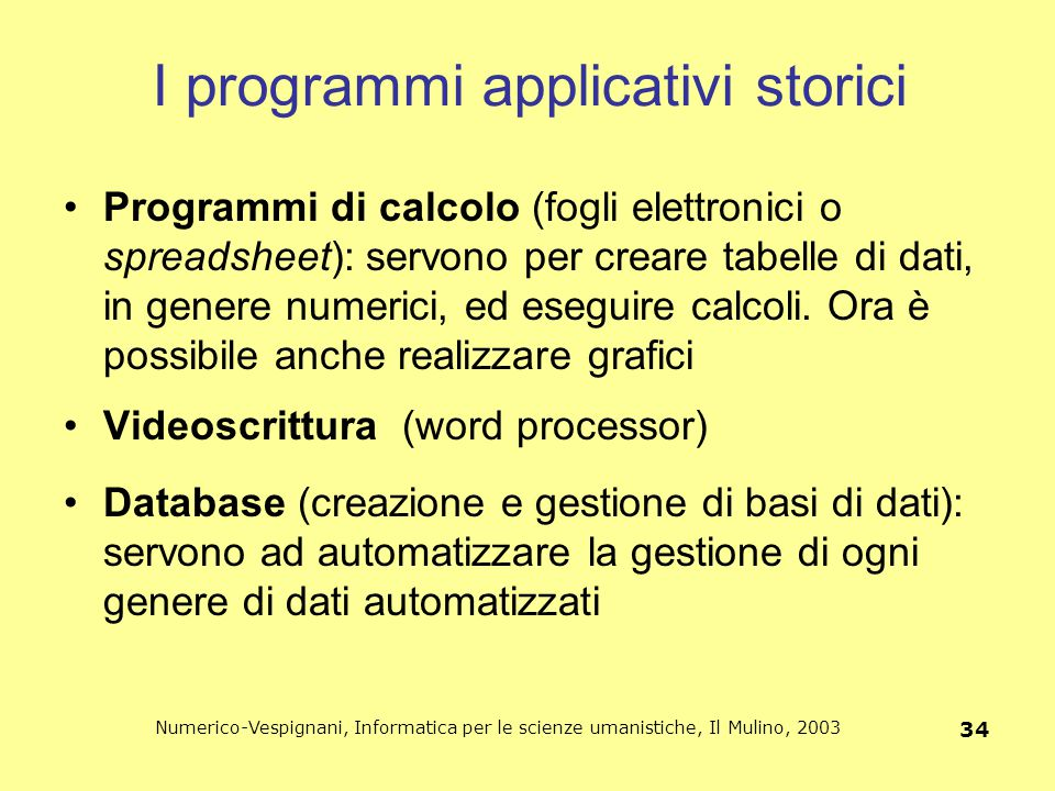 I programmi applicativi storici
