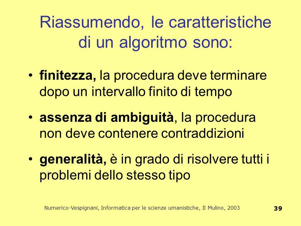 Riassumendo, le caratteristiche di un algoritmo sono: