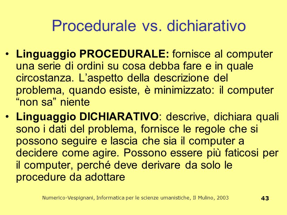 Procedurale vs. dichiarativo