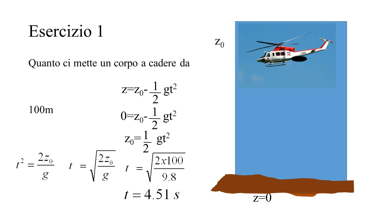 Esercizio 1 z0 1 z=z0- gt2 2 1 0=z0- gt2 2 1 z0= gt2 2 z=0