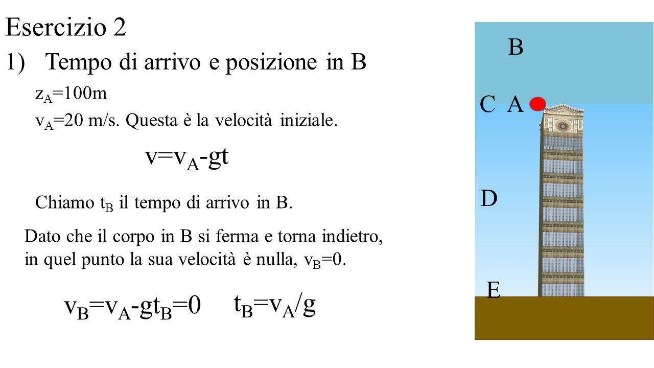 Esercizio 2 v=vA-gt tB=vA/g vB=vA-gtB=0 B