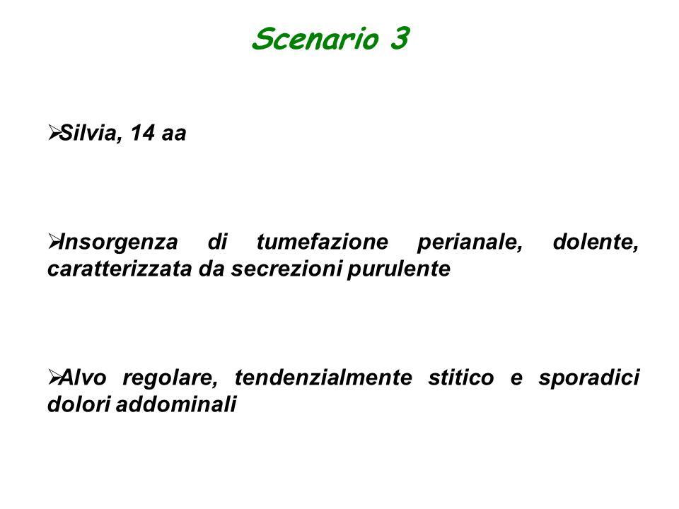 Scenario 3 Silvia, 14 aa. Insorgenza di tumefazione perianale, dolente, caratterizzata da secrezioni purulente.