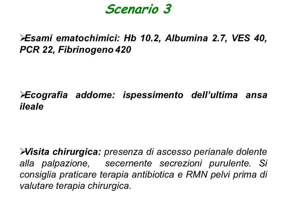 Scenario 3 Esami ematochimici: Hb 10.2, Albumina 2.7, VES 40, PCR 22, Fibrinogeno 420. Ecografia addome: ispessimento dell'ultima ansa ileale.
