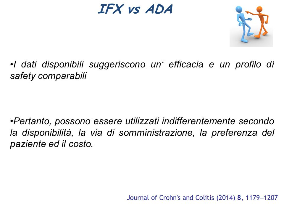 IFX vs ADA I dati disponibili suggeriscono un' efficacia e un profilo di safety comparabili.