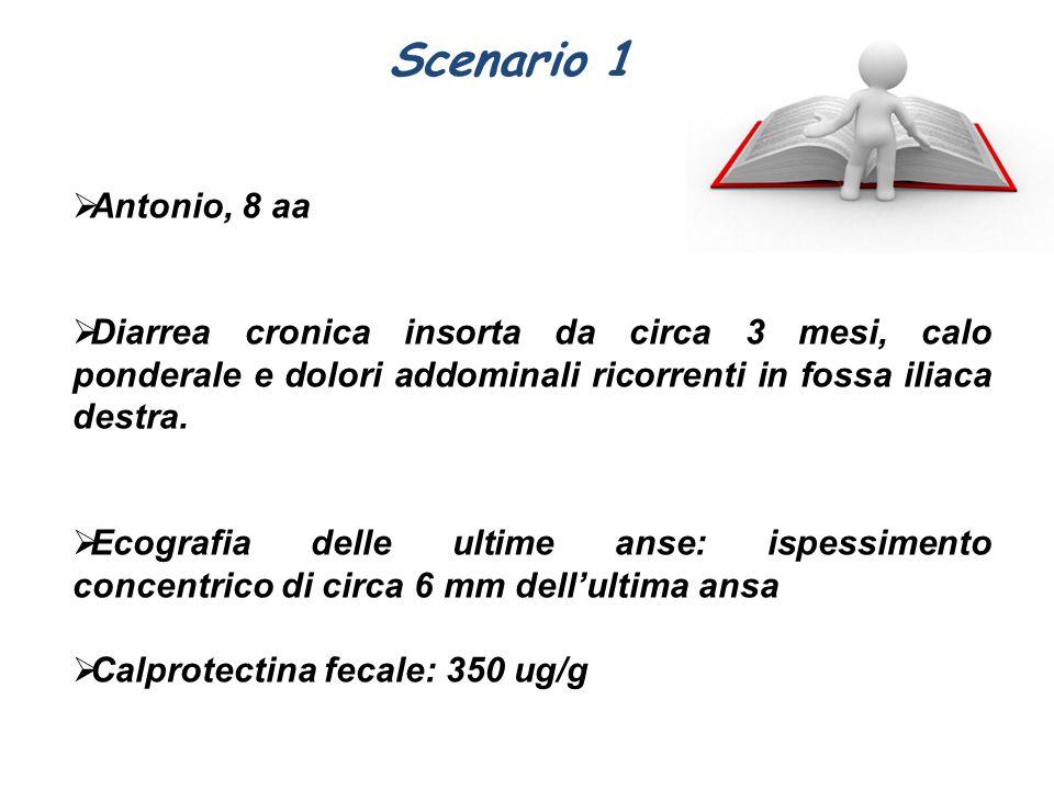 Scenario 1 Antonio, 8 aa. Diarrea cronica insorta da circa 3 mesi, calo ponderale e dolori addominali ricorrenti in fossa iliaca destra.