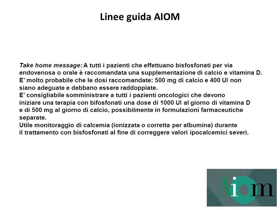 Linee guida AIOM Take home message: A tutti i pazienti che effettuano bisfosfonati per via.
