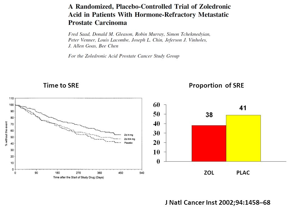 Time to SRE Proportion of SRE J Natl Cancer Inst 2002;94:1458–68 ZOL