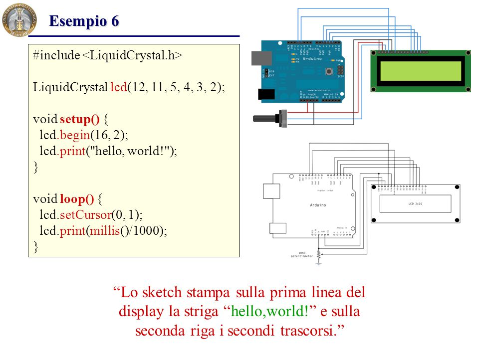 Esempio 6 #include <LiquidCrystal.h> LiquidCrystal lcd(12, 11, 5, 4, 3, 2); void setup() { lcd.begin(16, 2);