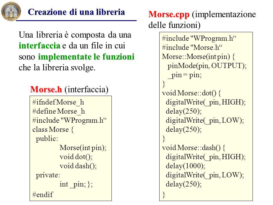 Creazione di una libreria Morse.cpp (implementazione delle funzioni)