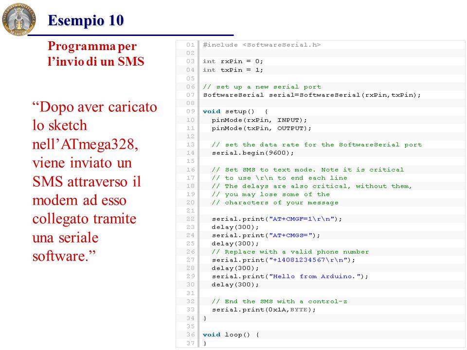 Esempio 10 Programma per l'invio di un SMS.
