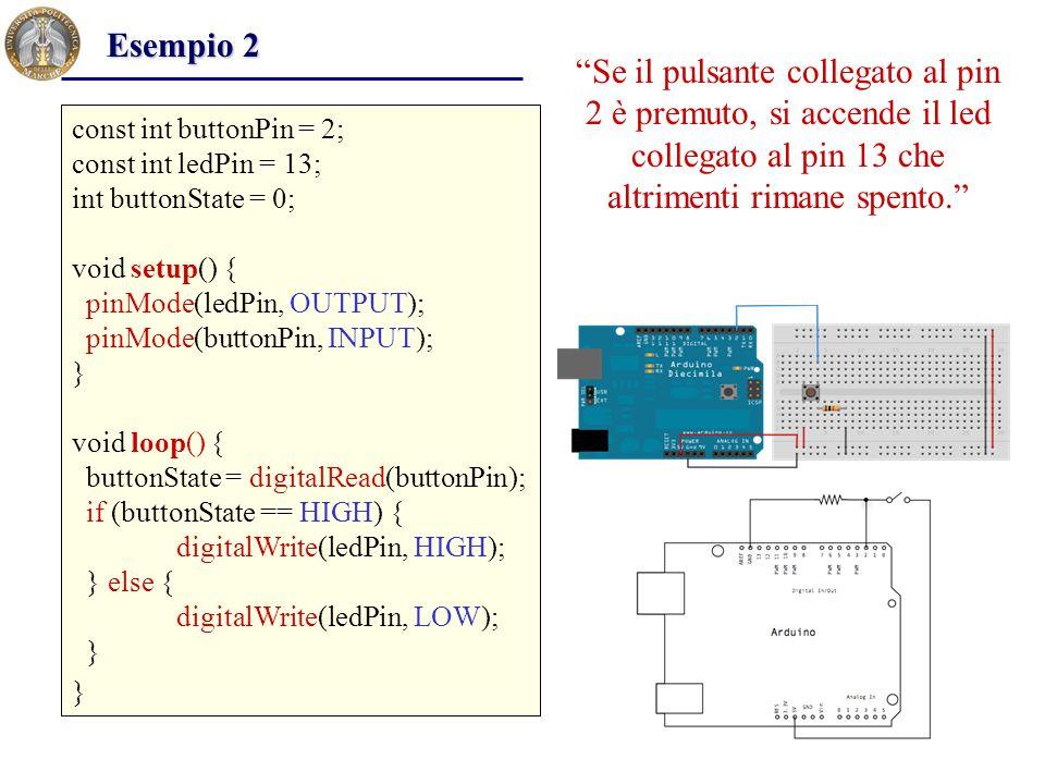 Esempio 2 Se il pulsante collegato al pin 2 è premuto, si accende il led collegato al pin 13 che altrimenti rimane spento.