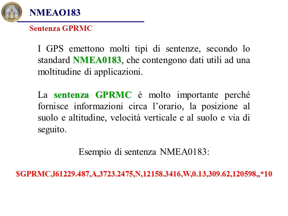 Esempio di sentenza NMEA0183:
