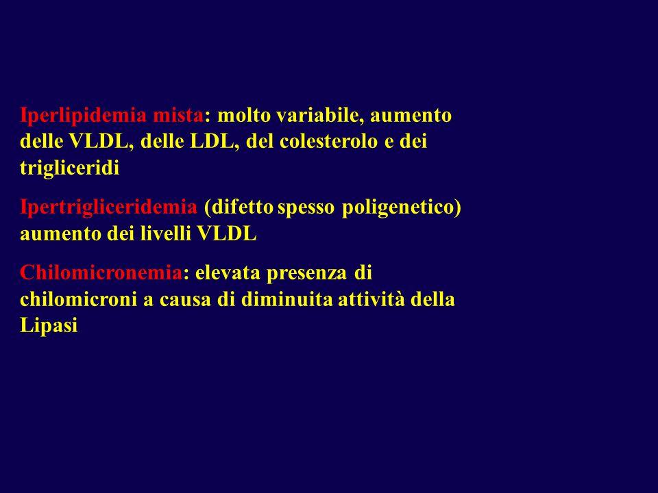 Iperlipidemia mista: molto variabile, aumento delle VLDL, delle LDL, del colesterolo e dei trigliceridi