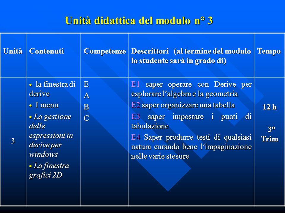 Unità didattica del modulo n° 3