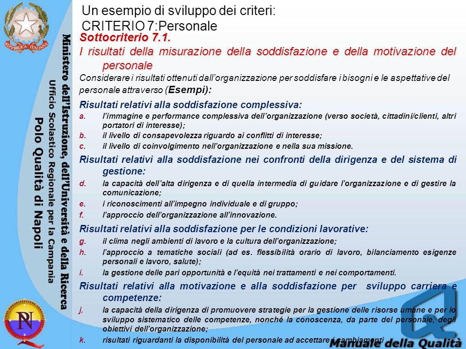 Un esempio di sviluppo dei criteri: CRITERIO 7:Personale