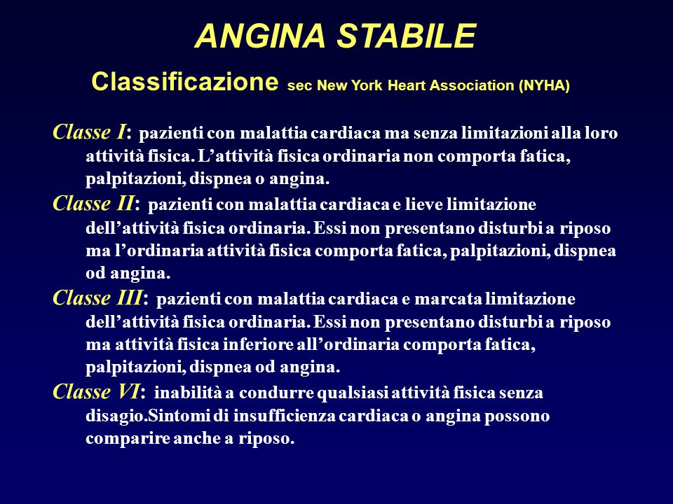 ANGINA STABILE Classificazione sec New York Heart Association (NYHA)