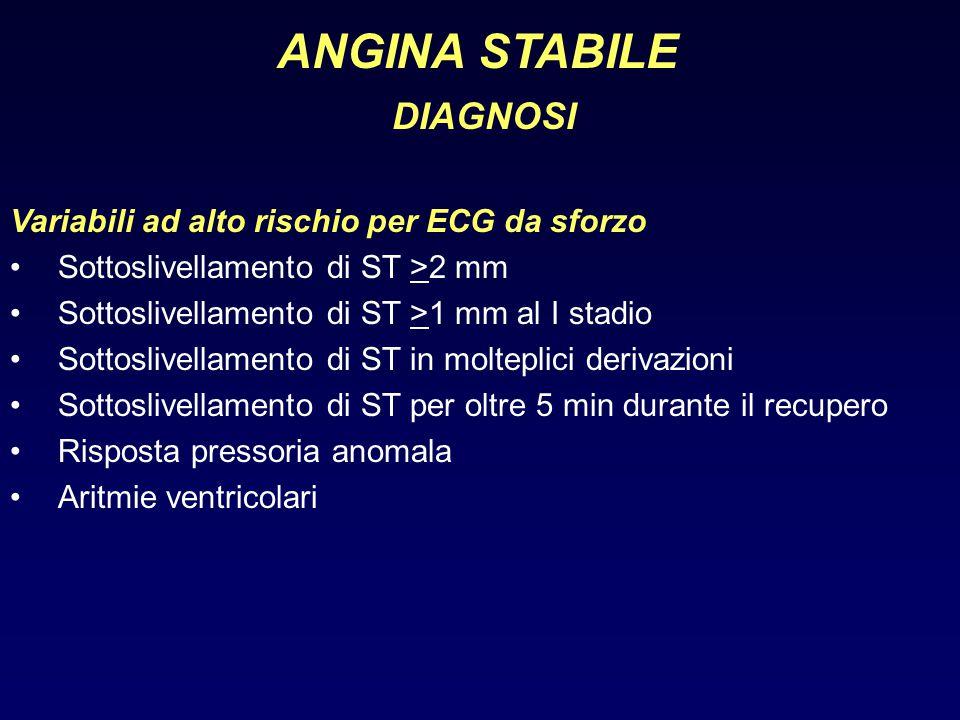ANGINA STABILE DIAGNOSI Variabili ad alto rischio per ECG da sforzo
